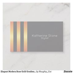 Keep it simple and stand out with minimalist business cards from Zazzle! Elegant Business Cards, Professional Business Cards, Business Card Design, Copper Rose, Rose Gold, Katherine Stone, Gold Gradient, Grey Stripes, Product Design