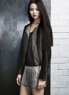 sequins and leather