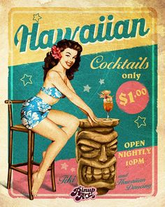 """Pin-Up """"Hawaiian cocktails"""" - hand made illustration in digital art by Mad Mac."""