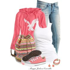 """""""Pink Chuck Taylor"""" by maggie-jackson-carvalho on Polyvore"""