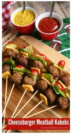 Were sharing these fun cheeseburger meatball kabobs sponsored by Cooked Perfect Meatballs with you today perfect for a fun game day appetizer Food on a stick always seems. Game Day Appetizers, Appetizer Recipes, Lunch School, Comida Picnic, Aperitivos Finger Food, Healthy Snacks, Healthy Recipes, Picnic Foods, Best Picnic Food