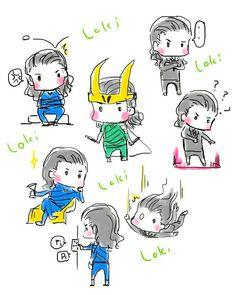 Loki || Cr: namimurakika Marvel Funny, Marvel Memes, Marvel Art, Marvel Dc Comics, Baby Marvel, Marvel Couples, Thor X Loki, Lady Loki, Tom Hiddleston Loki