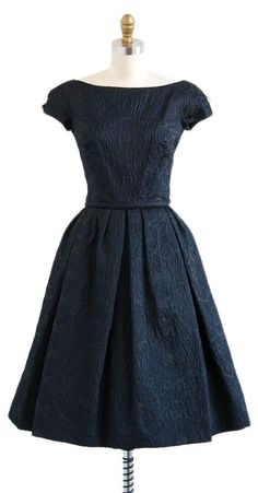 vintage 1950s black silk jacquard evening dress | vintage 50s dresses