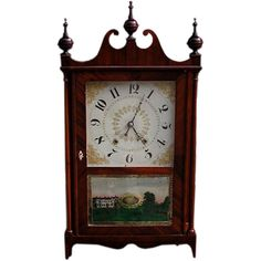 1stdibs | American Pillar and Scroll  Clock ( Olcott Cheney )