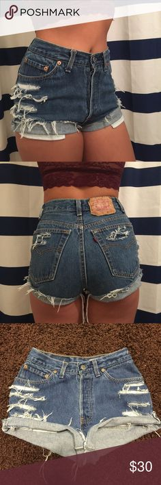 "❗️Rare❗️Levis Button Fly Vtg High waist Shorts ❗️One of a kind❗️Guarantee to break Necks❗️Levis 501 Sz 7 vintage high waist-5 pockets-button up fly-button closure❗️rebuild distressed look❗️waist: 13""❗️length:11"" (folded)-13"" (frayed) Levi's Shorts Jean Shorts"