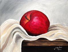 Red Apple 3 Still Life Painting Acrylic 11x14 por LimonArtStudio