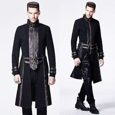 Designer Black Gothic Military Fashion Dress Trench Coats for Men SKU-11401802