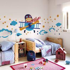 Mini Aerotrastornados: Vinilos y láminas de aviones y cohetes para habitaciones infantiles