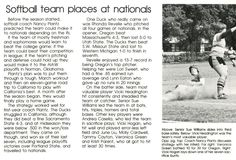 Recap of Oregon softball 1979-80. From the 1980 Oregana (University of Oregon yearbook). www.CampusAttic.com