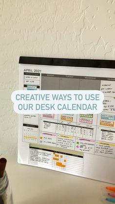 Planner Tips, Study Planner, Life Planner, Happy Planner, Large Desk Calendar, Desk Calendars, Bullet Journal Layout, Bullet Journal Ideas Pages, Office Hacks