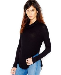 Free People Long-Sleeve Cowl-Neck Sweater - Black S
