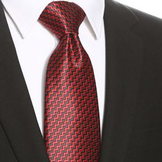 This black red zig zag extra long tie would be perfect for any formal or casual occasion.