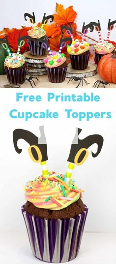 Witch Cupcake Toppers with Free Printable Shoes - Emma Owl Creative Activities, Activities For Kids, Crafts For Kids, Edible Crafts, Kids Board, Love Eat, Halloween Food For Party, Holidays With Kids, Cupcake Toppers