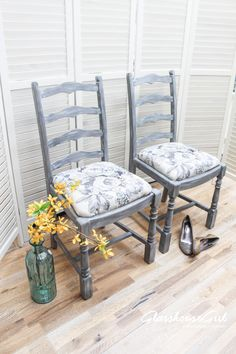 Grey Roses Faded Elegance Oak Chairs • Glasshouse Girl