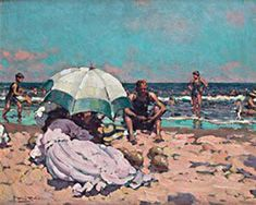 Alberto Pla Y Rubio Dia de Playa hand painted oil painting reproduction on canvas by artist Impressionist Artists, Visual Texture, Creative Skills, Oil Painting Reproductions, Fashion Painting, Beach Scenes, Figure Painting, Landscape, Spanish