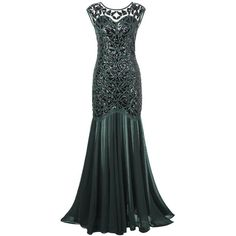 PrettyGuide Women 's 1920s Black Sequin Gatsby Maxi Long Evening Prom... ($49) ❤ liked on Polyvore featuring dresses, long cocktail dresses, long maxi dresses, 1920s flapper dress, sequin prom dresses and prom dresses