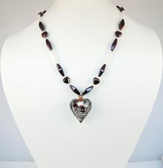 Heart Necklace Purple and White Necklace by LLDArtisticJewelry, $24.95