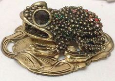 """HUGE~Stamped Brass~""""JEWELED FROG ON LILY PAD""""~ BUTTON~ 2 3/4"""" INCH BUTTON"""