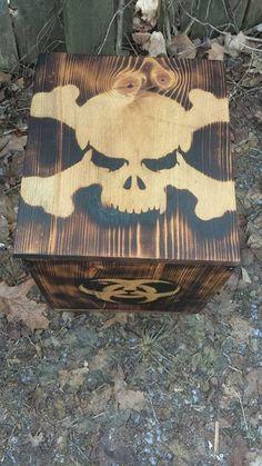 Fire Burned ZOMBIE APOCALYPSE EDC Storage Survival Gear Wood Bio-Hazard Box Chest Protect Your Stuff