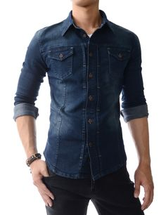 Dark Blue Vintage Washed Button-Front Casual Shirts For men.