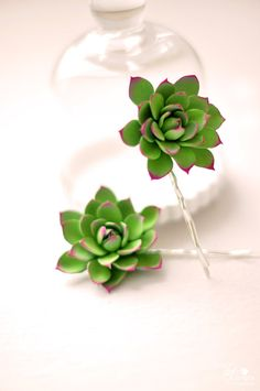 Ready to Ship Pair of Green and Pink Clay by dkdesignshawaii, $30.00