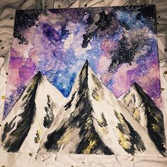 Workin on a pretty big project! 4 extra large wood slices, custom made! I'm super excited! I haven't posted anything in a while and just wanted to let you guys know that I'm still painting  with those creative juices! Thanks for following me :) #art #artist #mountains #watercolor #instagramartist #galaxy #technique #gold #nightsky #original #handdrawn