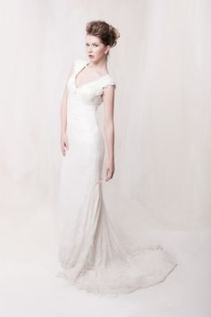 Lace over charmeuse mermaid vintage wedding dress for Vintage wedding dresses houston