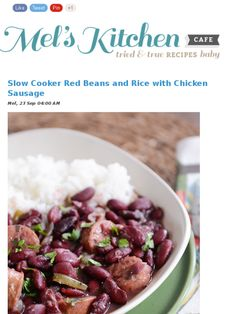 Slow cooker red beans and rice by Mel's Cafe