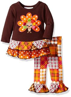 a05d149f1a32 Bonnie Baby Girls Thanksgiving Dresses and Legging Set Turkey 36 Months ***  Much more