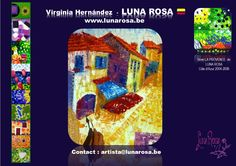 """http://lunarosa.be/ TROPICAL MAGIC with MOSAÏCS of LIGHT   """"Geometric signs & mosaïcs of light with spatula : representing the passage of time, emotions and evolutionary cycles.   Art is my therapy and my caffeine""""!"""