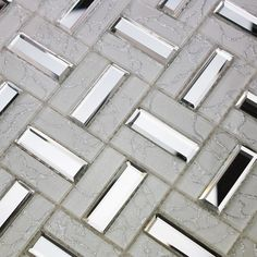 Glass mosaic kitchen backsplash tile SSMT104 silver stainless steel ...