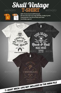 Skull #Vintage #T-Shirt - #Grunge #Designs Download here: https://graphicriver.net/item/skull-vintage-tshirt/7730170?ref=alena994