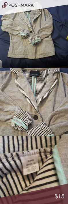 Cynthia Rowley Cotton Blazer Grey cotton casual blazer, so cute with jeans!  Turquoise piping, and black & white lining - cuffed for a different look.   Excellent Condition! Cynthia Rowley Jackets & Coats Blazers