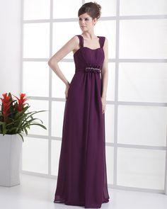 Ruffle Chiffon Shoulder Straps Floor Length Bridesmaid Dress Gown