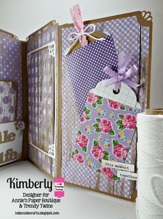 DT Kimberly @ Twine It Up! by Annie's Paper Boutique: Memory Keeping with Trendy Twine using Totally White, Totally Lemon & Watermelon Taffy Trendy Twine along with Chevron Trendy Page Dots. shop.anniespaperb...
