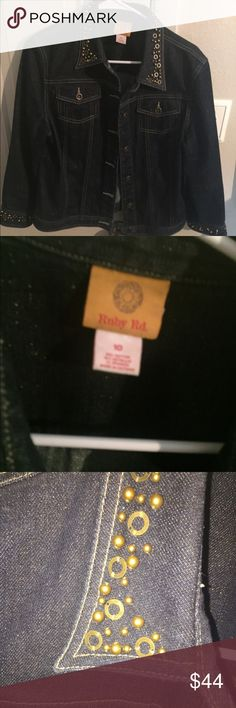 NWOT'S Ruby Rd. Denim Jacket Excellent condition, came from Dillard's . Had gold detail throughout Jacket. Ruby Rd. Jackets & Coats Jean Jackets