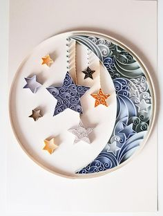Moon and Stars Quilled Nursery Wall Art New Baby Gift image 0 Arte Quilling, Paper Quilling Cards, Paper Quilling Patterns, Paper Quilling Jewelry, Origami And Quilling, Quilled Paper Art, Quilling Craft, Quilling Ideas, Paper Quilling Tutorial