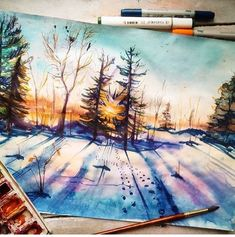 Pretty watercolor landscape painting of winter snow sunset. Watercolor Landscape, Watercolor Paintings, Watercolors, Painting Inspiration, Art Inspo, Arte Emo, Art Graphique, Claude Monet, Pretty Art