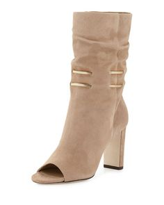 Mysen Suede Peep-Toe Boot, Nude by Jimmy Choo at Neiman Marcus.