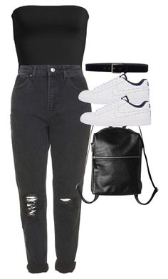"""Untitled #2535"" by hiitsbre ❤ liked on Polyvore featuring Leith, Topshop, NIKE, Monki and Class Roberto Cavalli"