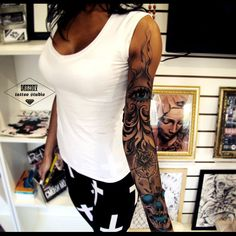 black and white tattoo, sleeve, vladimir drozdov, ukraine