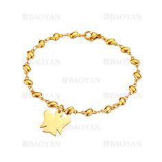 pulsera con angel de dorado en acero para mujer-SSBTG1094338