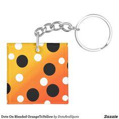 Dots On Blended OrangeToYellow Double-Sided Square Acrylic Keychain