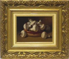 Zoilo Millán Ortega : Champiñones. Medium: Oil on wood Measurements (cm): 55x47 Canvas measurements (cm): 31x23 Interior frame: Yes.  Excellent work with courageous colouring, on a different theme from what we are accustomed to see from this excellent painter. $682.07