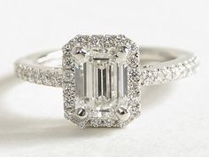 Emerald Cut Halo Diamond Engagement Ring in 14K White Gold from bluenile.com | #Wedding #Engagement #Ring #Jewelry