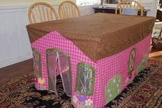 Cute sewing project tent playhouse. No instructions for this but I'm sure we can figure it out. I think this is so cute and hey, if company drops in, just throw all the toys and other junk in here and just zip it up lol! I really do love this!