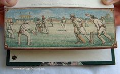 Fore-edge Painting:  Frost . . . Victorian British Cricket Game . . . (Painting on the edges of book pages)