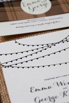 Cafe Lights Wedding Invitations  Wicked Bride Stationery  www.wickedbride.com  photo by Amie Fedora Photography