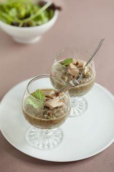Verrines de lentilles au foie gras
