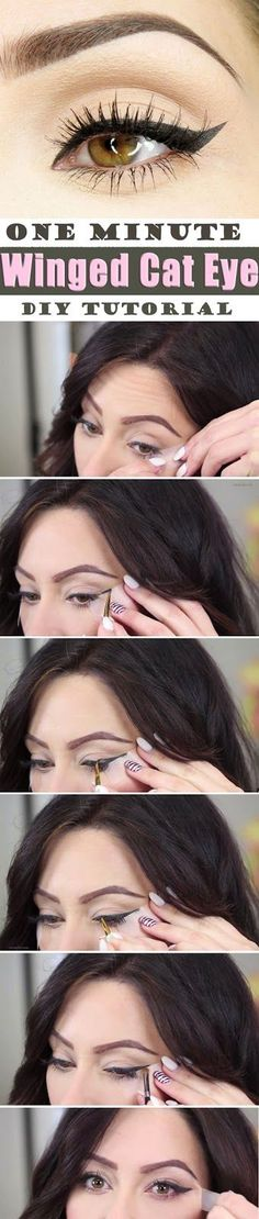 Brief Step by step Tutorial for Surprising One Minute Winged Cat Eye Makeup... Easy and Quick...